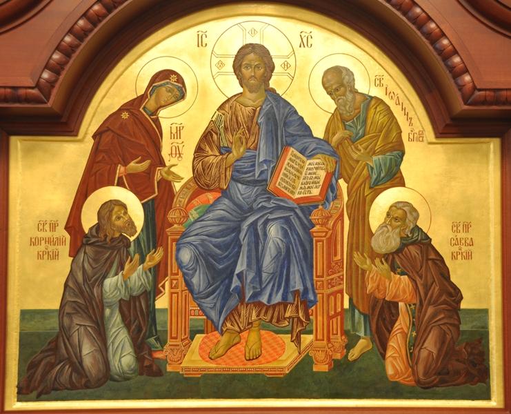 Деисус с припадающими преподобными отцами Саввой и Корнилием Крыпецким